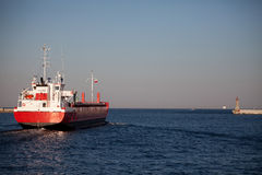 The ship leaves port. Royalty Free Stock Images