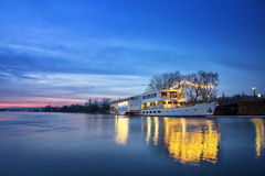 The ship lies at the dock at dusk in Dresden Stock Photography