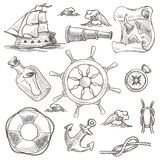 Ship and lifebuoy sea or marine symbols sketches world map and rudder wheel vector isolated compass and rope knots. Anchor and message in bottle spyglass vessel vector illustration