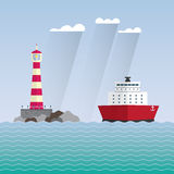 Ship and lighthouse Stock Image
