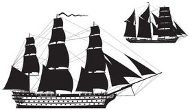 Ship of the line and Barquentine silhouettes. Sailing Ship vector illustration series Royalty Free Stock Photography