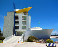 Ship living luxury. Modern luxury condo resembling a ship at the Lisbon marina where the Expo 98 took place Royalty Free Stock Photography