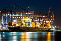 Ship loaded in New York container terminal. Cargo ship loaded in New York container terminal at night viewed from Elizabeth NJ across Elizabethport reach Royalty Free Stock Images