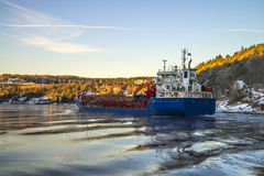 Ship loaded with timber Stock Images