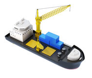 Ship loader with crane isolated. 3d rendering.  Stock Photos