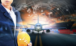ship loading container in import - export pier and air cargo plane approach in airport use for transport and freight logistic bus royalty free stock photo