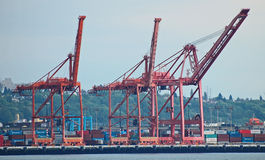 Ship loading cranes Royalty Free Stock Images