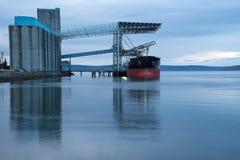 Ship Loading At Grain Terminal Royalty Free Stock Photo