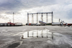 Ship loading grain tower Stock Photography