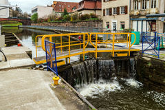 Ship lock or flood gate on Marne-Rhin river canal Royalty Free Stock Images