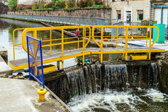 Ship lock or flood gate on Marne-Rhin river canal Royalty Free Stock Photos