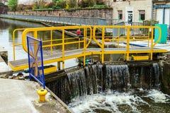 Ship lock or flood gate on Marne-Rhin river canal Royalty Free Stock Photos