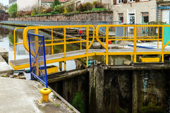 Ship lock or flood gate on Marne-Rhin river canal Stock Images