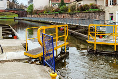 Ship lock or flood gate on Marne-Rhin river canal Stock Photos