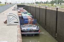 Ship in lock in netherlands Stock Photos