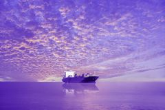 Cargo ship in the sea Stock Images