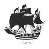 Ship. The ship, logo or emblem for companies, vector illustration Stock Photo