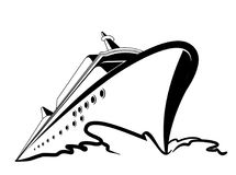 Ship logo in vector. Ship logo on white background in vector. Black and white, linear Royalty Free Stock Photo