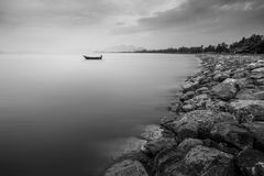 Ship is lonely. The ship is lonely. it is a beautiful in peaceful. and image is black and white color Stock Photos