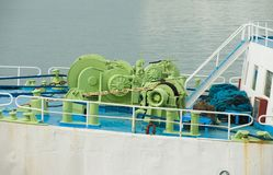 Ship machinery on bow Royalty Free Stock Photography