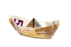 Ship made of money Royalty Free Stock Image