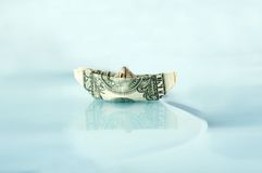 Ship made of money dollar Royalty Free Stock Photos