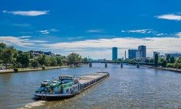 Ship on Main River, Frankfurt, Germany royalty free stock photos