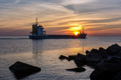 Ship in Mangalsala Royalty Free Stock Photography