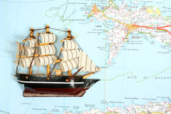 Ship on map Royalty Free Stock Images
