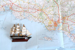 Ship on map Royalty Free Stock Photos