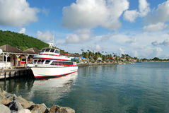 Ship in Marigot. Photo of passenger ship at Marigot harbor, Saint- Martin Island Stock Images