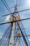 Ship Mast against a blue sky. Ship Mast of the USS Constitution Warship, against a blue sky stock photo