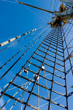 Ship mast and rigging. Photo of ship mast and rigging on blue sky background stock photos