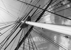 Ship mast and ropes Royalty Free Stock Images