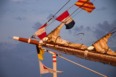Ship mast with signal flags Stock Images
