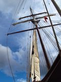 Ship mast silhouetted against sky. A ship mast silhouetted against the sky Royalty Free Stock Photography