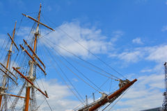 Ship masts and bow Stock Image