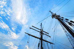 Ship masts rigging, blue sky Royalty Free Stock Photo