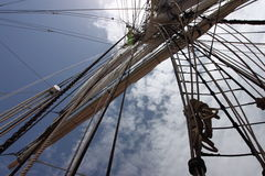 Ship masts and rigging Royalty Free Stock Image