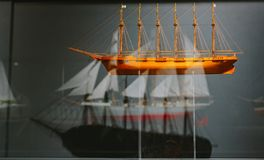 Exhibits of the World Maritime Museum in the city of Hamburg. Ship mechanisms and models of ancient ships Royalty Free Stock Photography