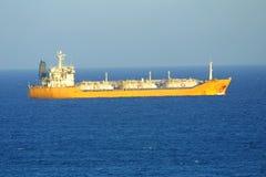 Ship in Mediterranean sea stock photography
