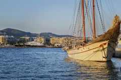 Ship in the Mediterranean Sea. Ship moored in port Royalty Free Stock Photo