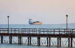 Ship in Mediterranean sea near Cyprus Royalty Free Stock Photo