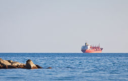 Ship in Mediterranean sea near Cyprus Stock Image