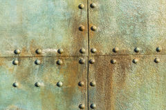 Ship Metal Rivets. Old ship deck metal plate rivets detail background decor royalty free stock photography