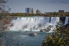 Ship in the mist of Niagara Falls waterfall royalty free stock image