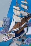 Ship model. Ship on the dark blue background Royalty Free Stock Image