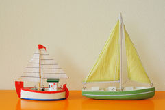 Ship model. Small model of ship with sails Royalty Free Stock Photography