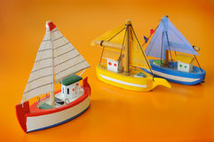 Ship model. Small model of ship with sails Royalty Free Stock Image