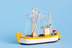 Ship model on azure background Stock Photo
